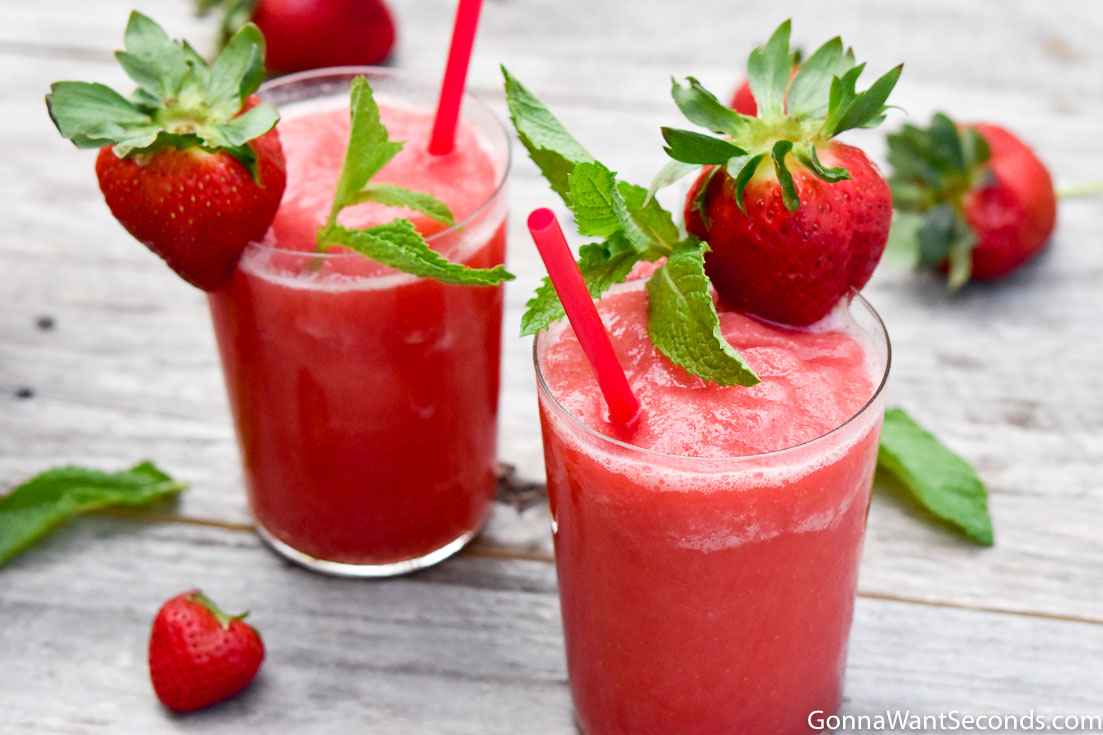 Two glasses of strawberry frose