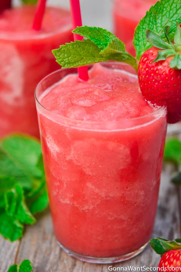 A glass of strawberry frose