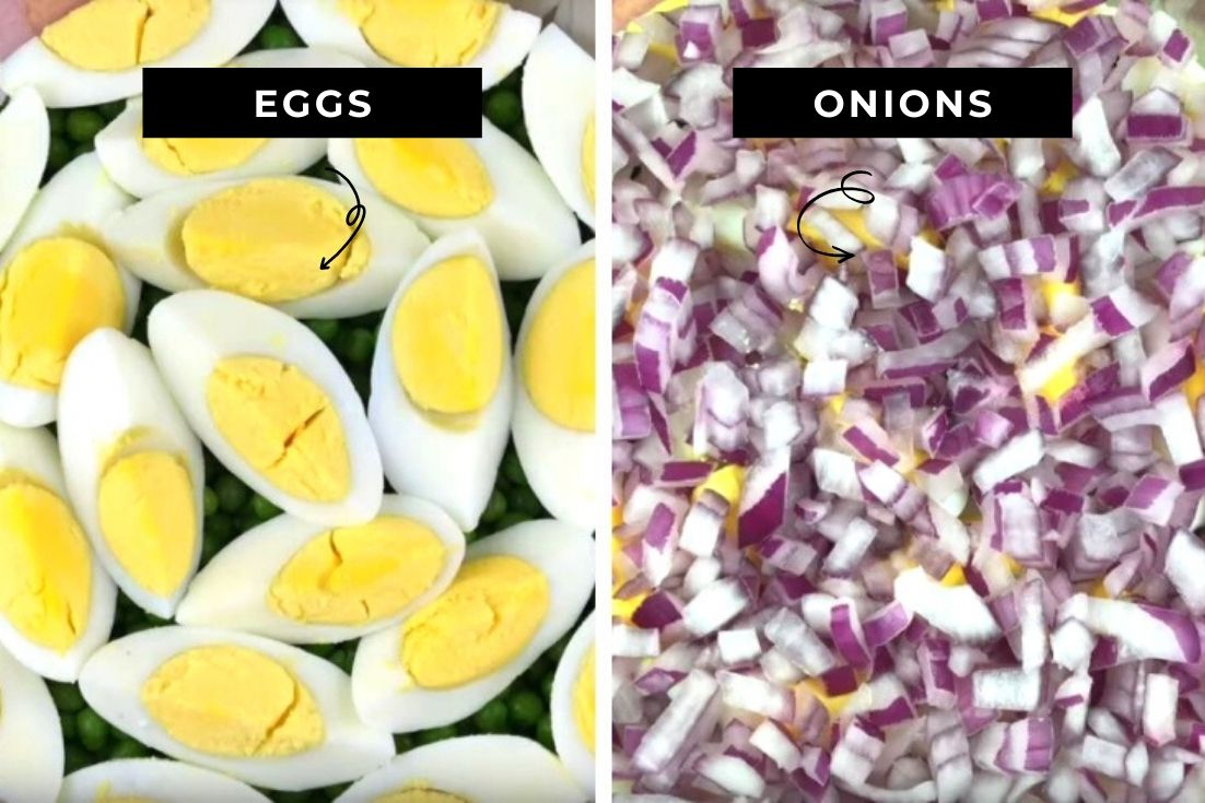Sliced Hard boiled eggs and chopped onions