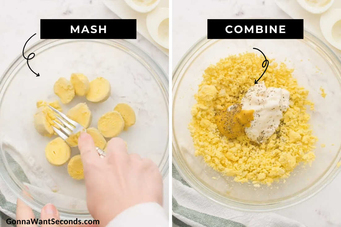 How to make classic deviled eggs, mushing egg yolks with fork then mixing the other ingredients