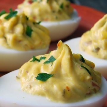 Deviled Eggs with Capers on a plate
