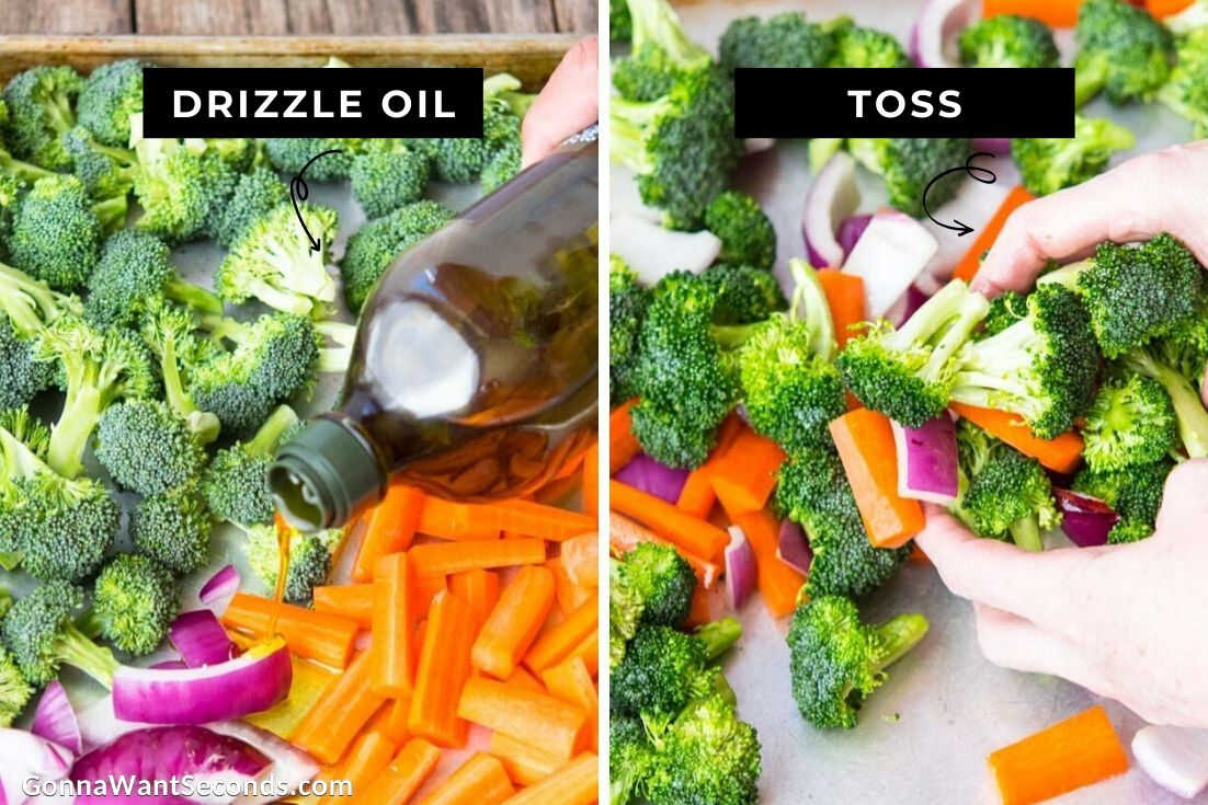 How to make Honey Balsamic Chicken, drizzling oil over veggies
