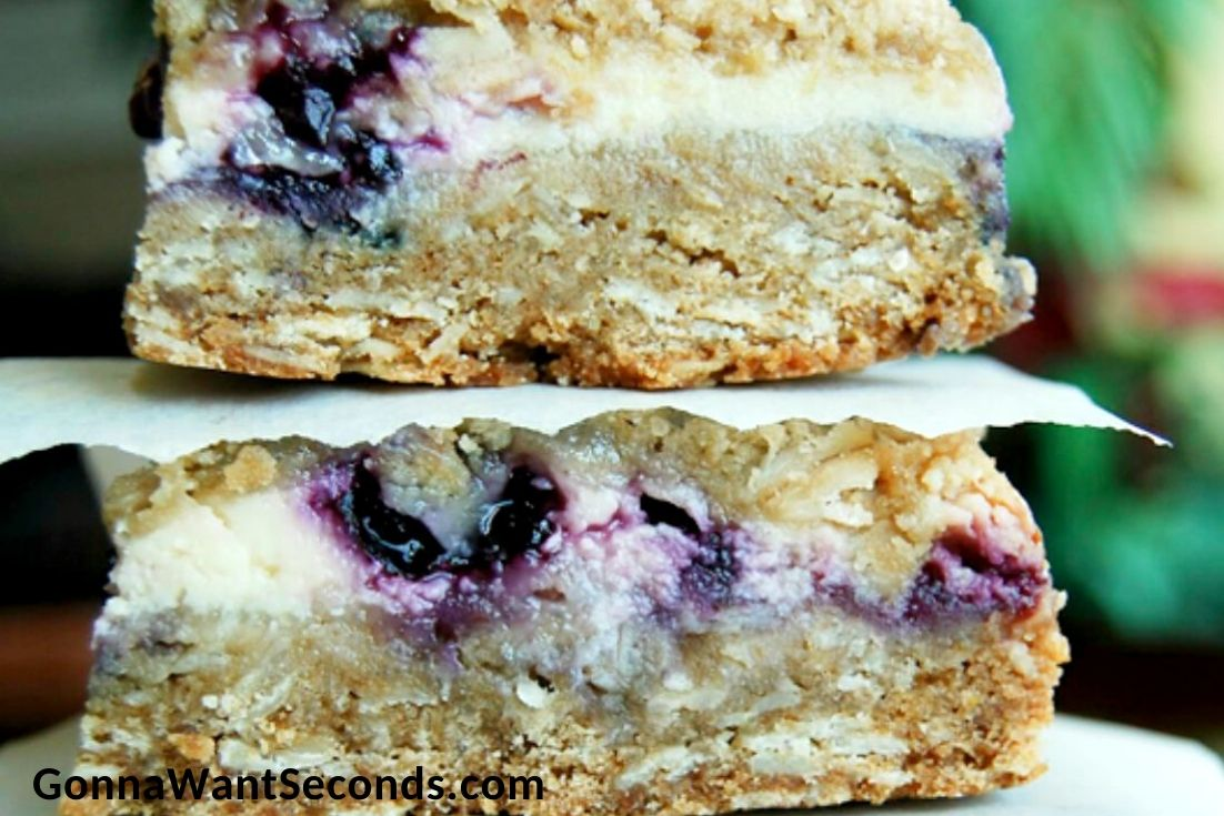 lemon blueberry bars stack on top of each other