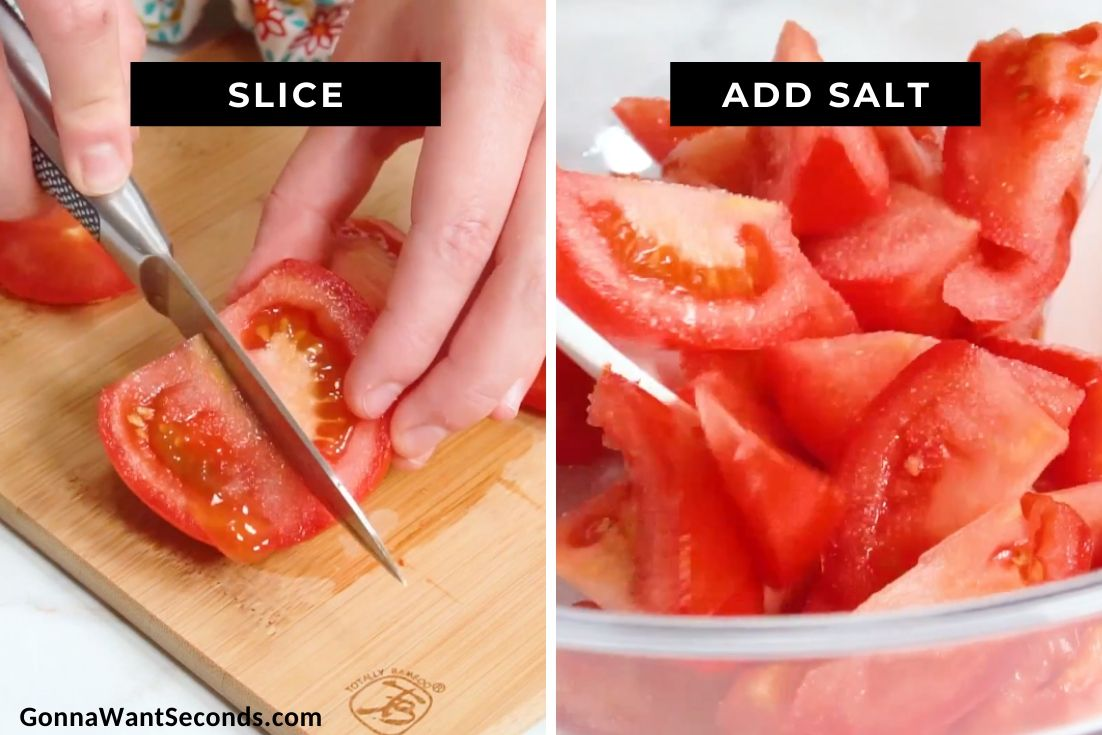 How to make Marinated Tomato Salad, slicing and adding salt to tomatoes