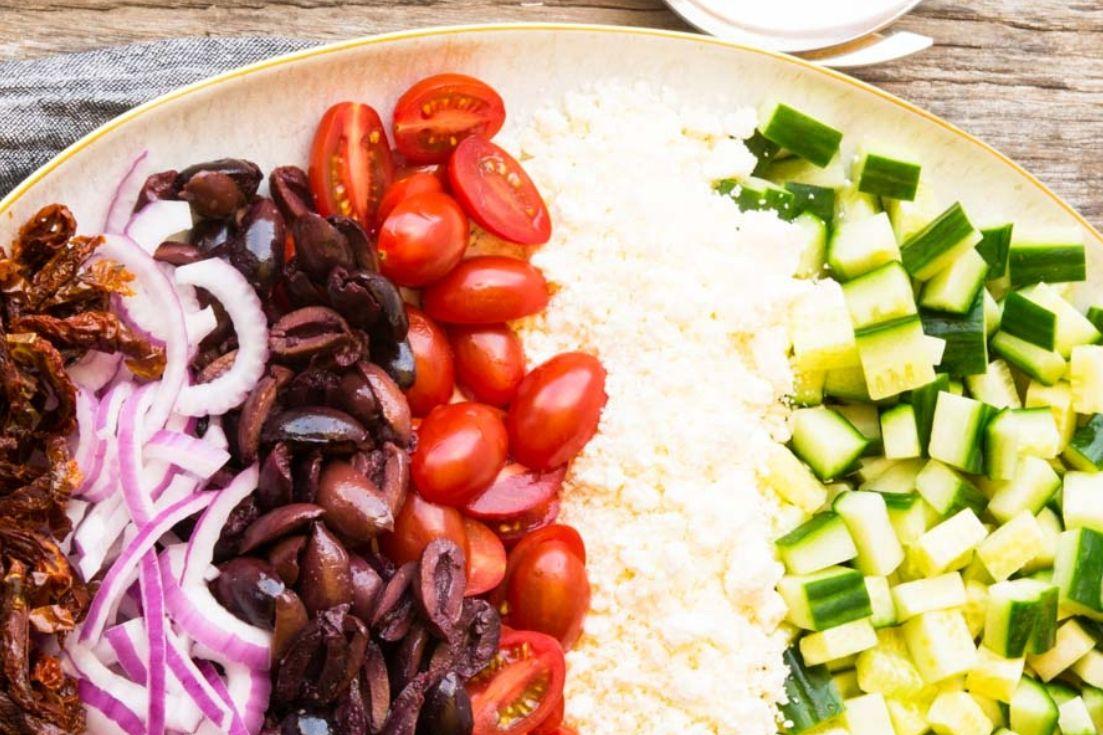 Mediterranean Salad chopped ingredients