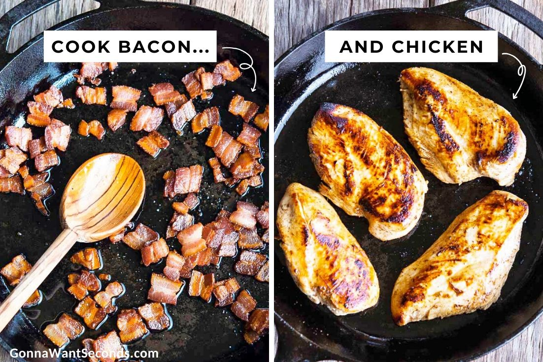 How to make Monterey chicken, cook bacon and chicken