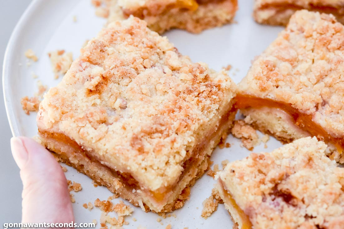 Slices of peach crumb bars