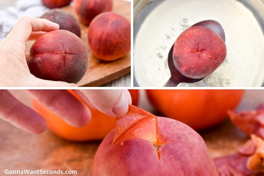 Making peach crumb bars filling, peeling peaches