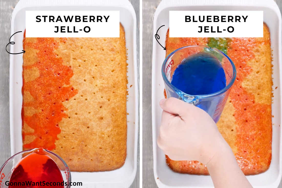 How to make Red White and Blue Poke Cake, pouring jell-o mix to the cake