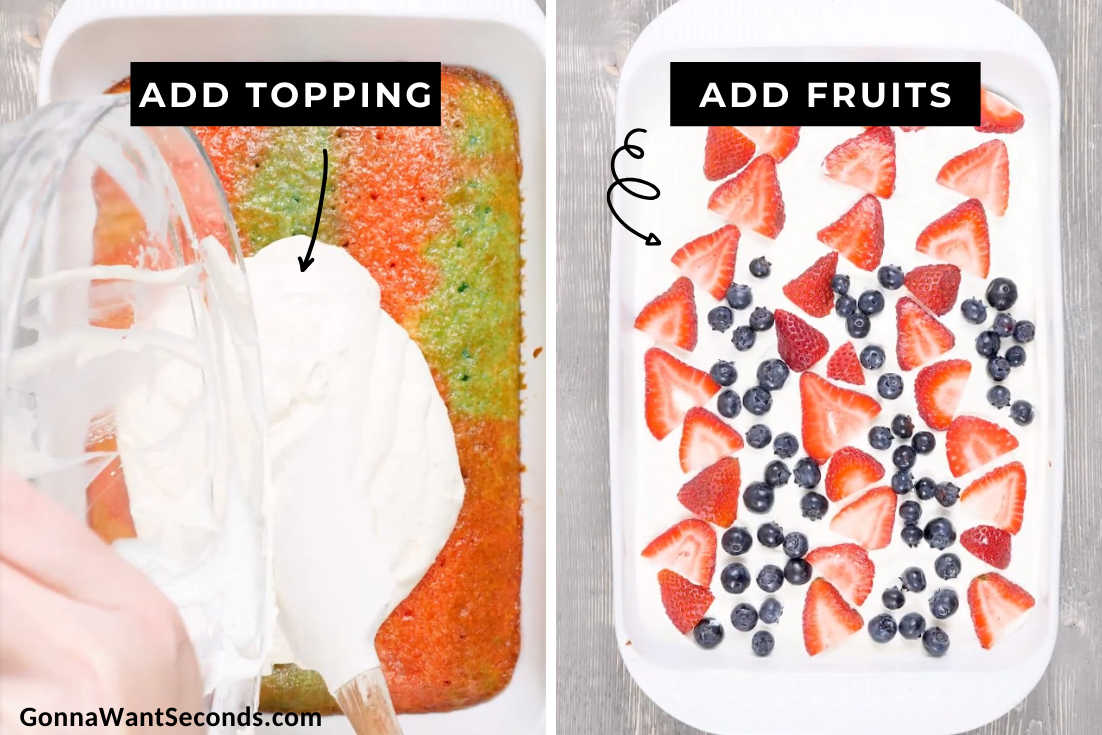 How to make Red White and Blue Poke Cake, adding topping and fruits