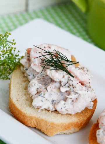 Shrimp Salad sandwich on a serving platter