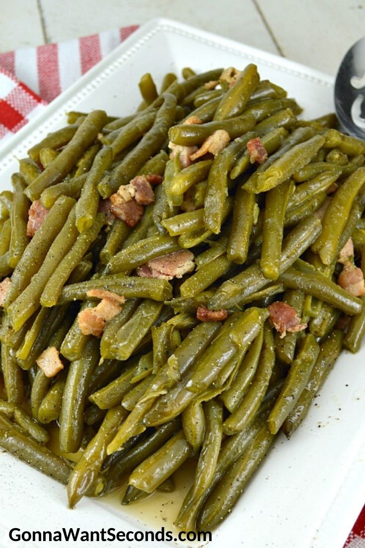 Southern Style Green Beans on a rectangular serving platter