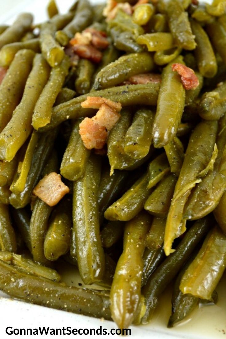 Southern Style Green Beans. close up