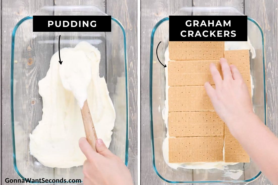 How to make Summer berry icebox cake, layering pudding mixture and graham crackers