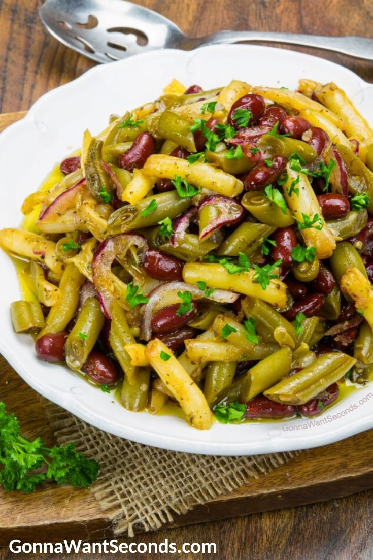 Three Bean Salad on a plate