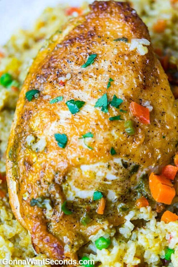 Arroz con pollo Peruano, close up