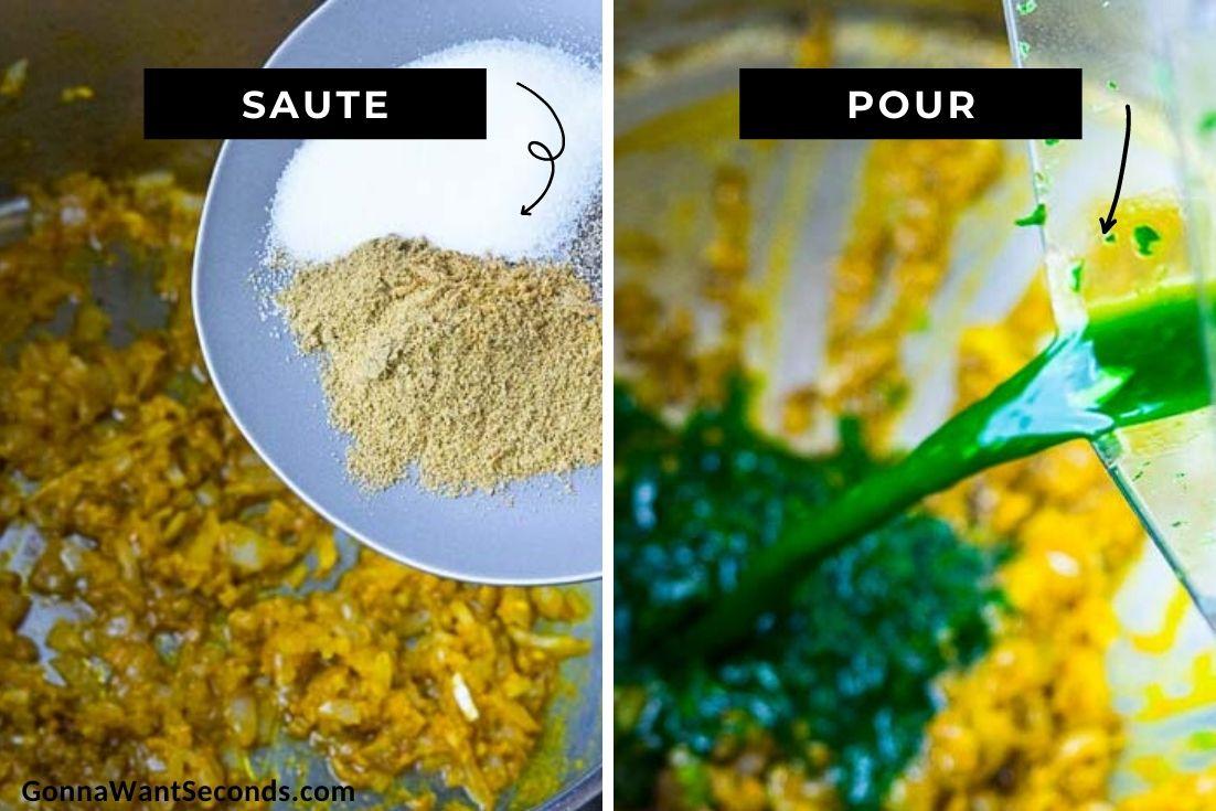 How to make Arroz con pollo Peruano, sauteing aromatics