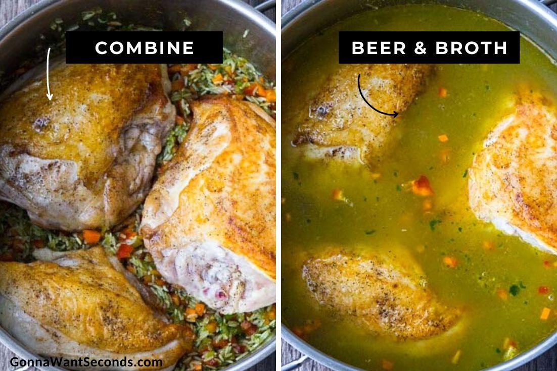 How to make Arroz con pollo Peruano, boiling in a pot