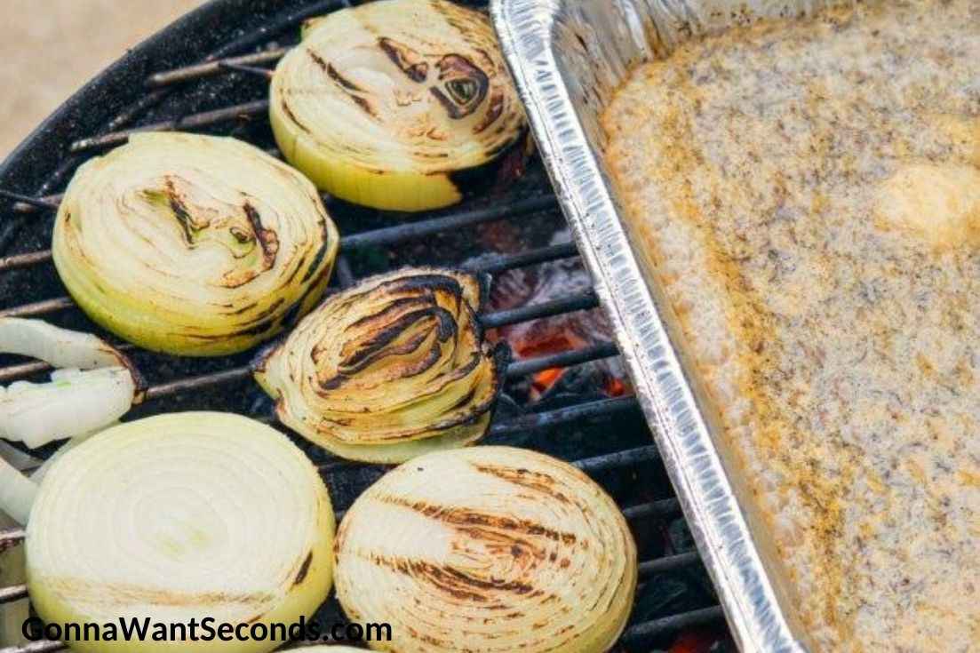 How to make beer brats, grilling onions with beer marinade on the side