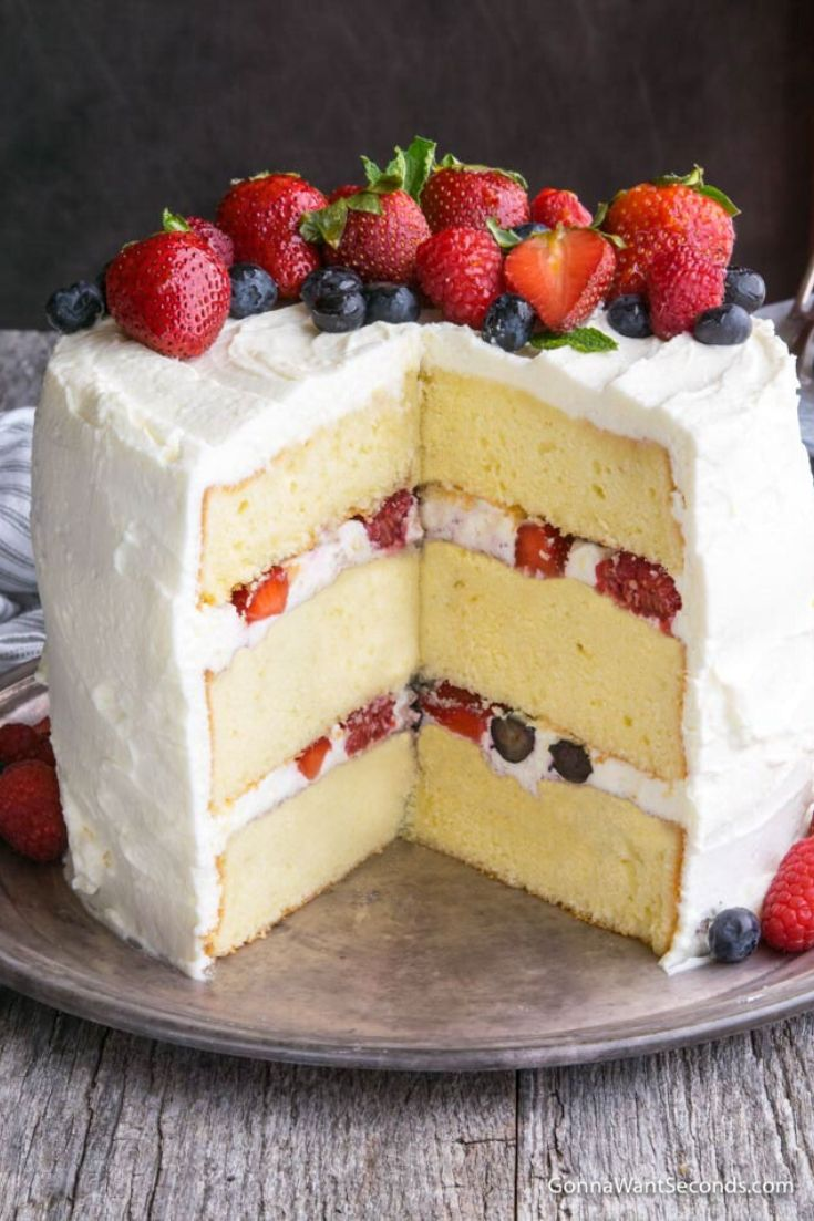 Whole Berry Chantilly Cake sliced, showing layers inside