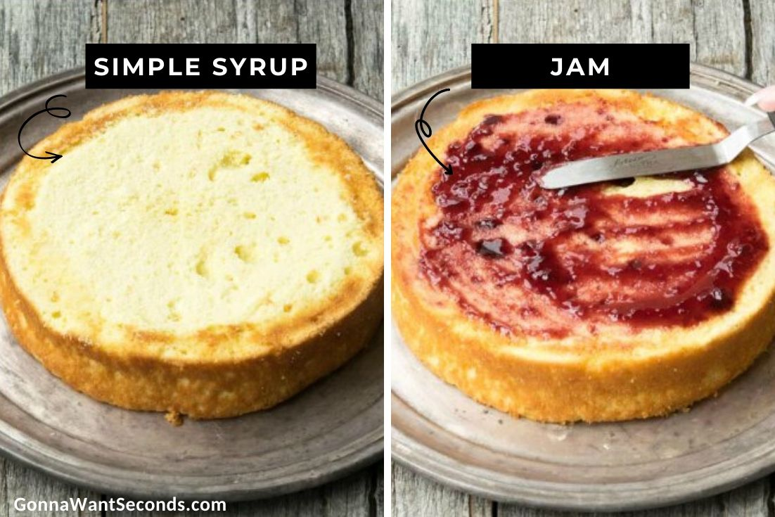 How to make Berry Chantilly Cake, spreading simple syrup and jam