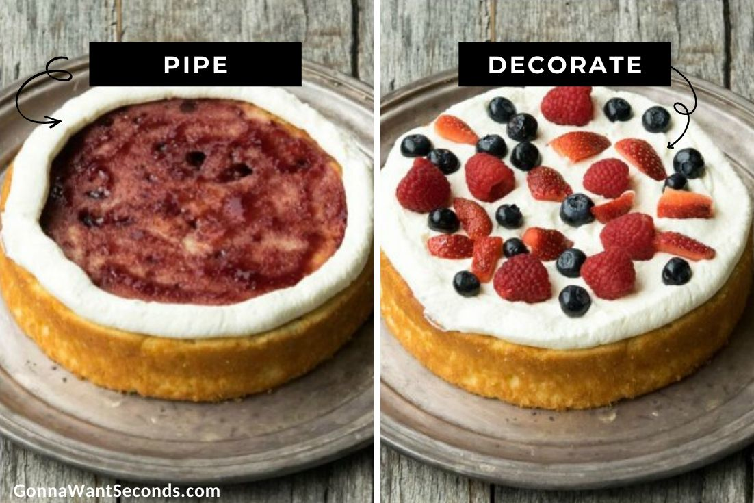 How to make Berry Chantilly Cake, piping frosting and adding berries