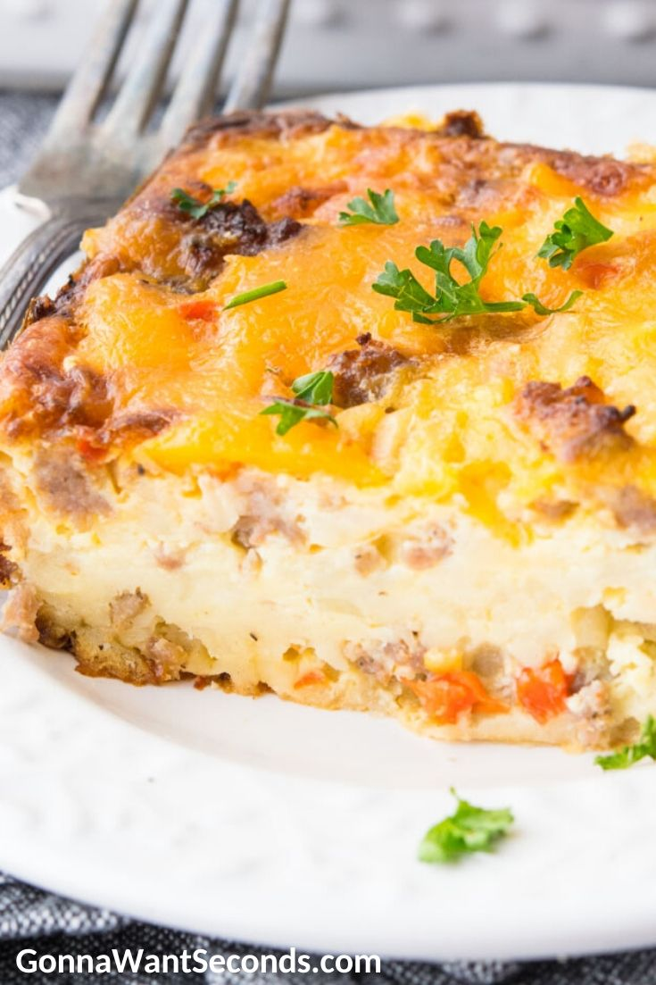 A slice of Bisquick Breakfast Casserole on a plate