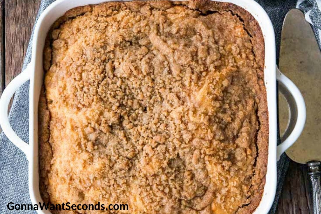 Bisquick Coffee Cake in a baking dish