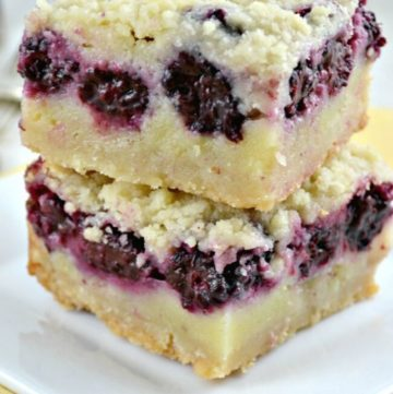 Blackberry Pie Bars stack on top of each other