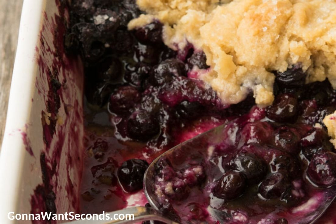 Scooped some Blueberry cobbler in the baking dish