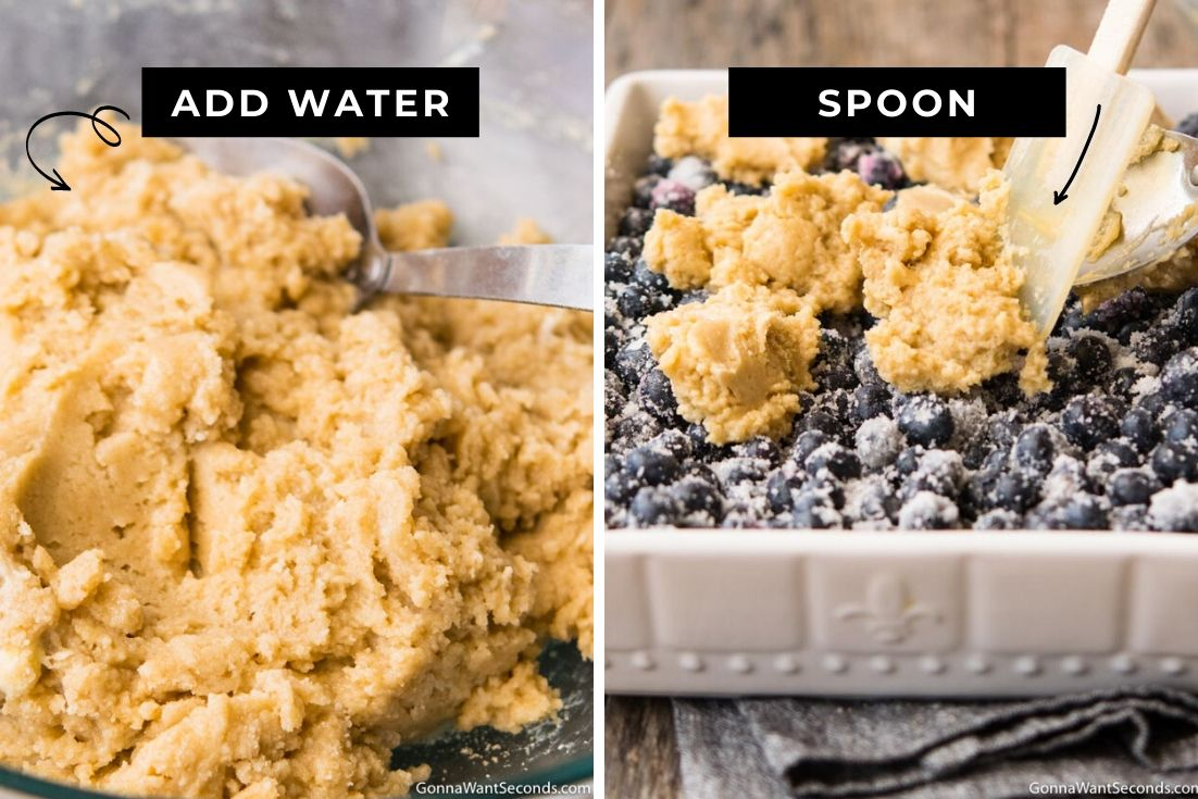 How to make Blueberry Cobbler, making the topping and scooping it on top of the filling