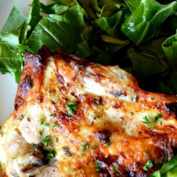 Buttermilk Roasted Chicken with leafy greens on the side