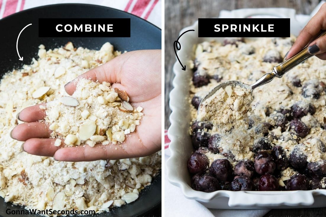 How to make Cherry Crisp, mixing topping ingredients and sprinkling it on top of cherries