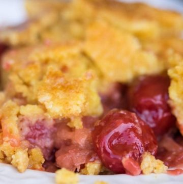 Cherry pineapple dump cake on a plate