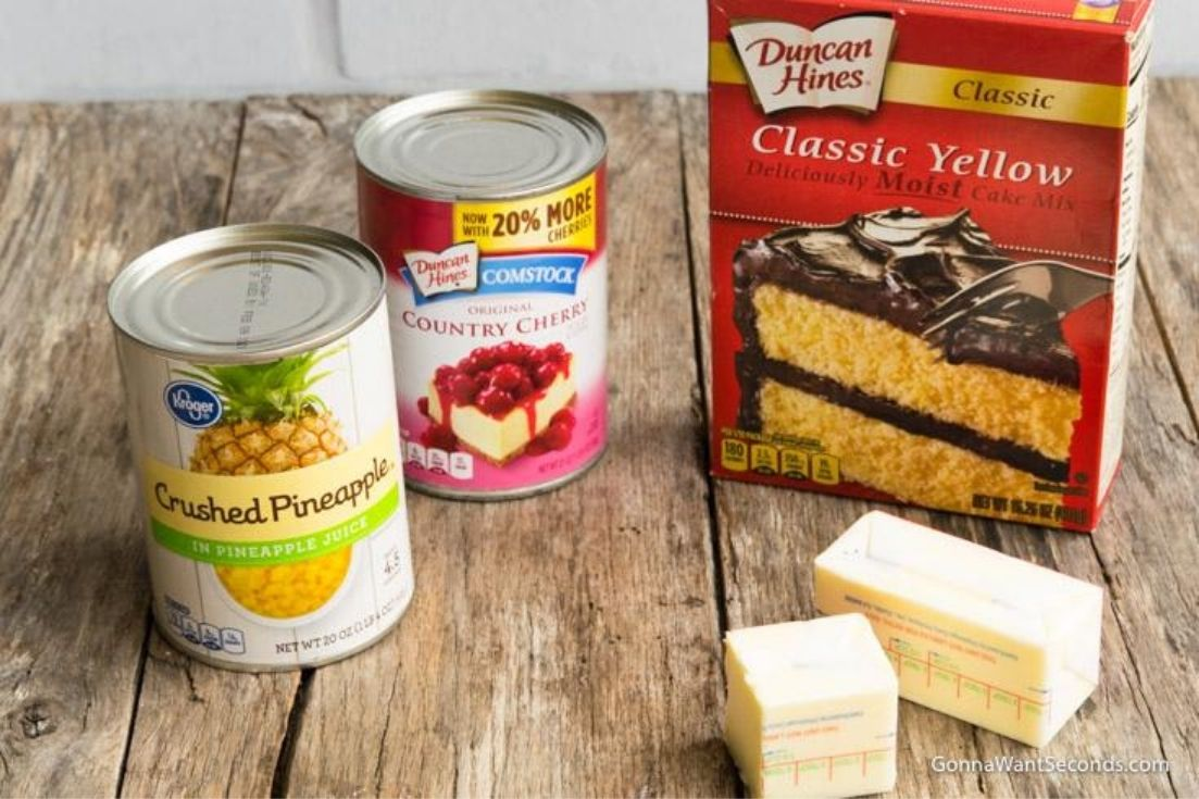 Cherry pineapple dump cake prepared ingredients
