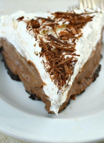A slice of chocolate cream pie