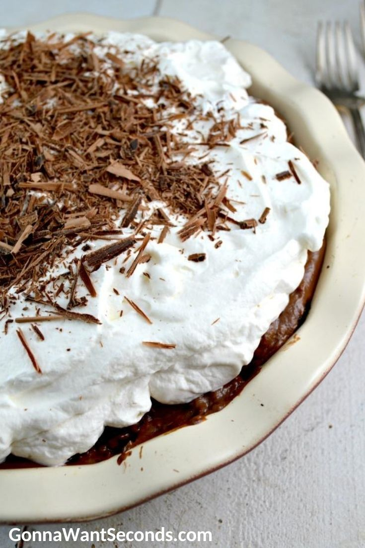 Chocolate cream pie, close up