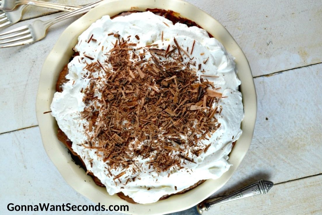 Chocolate cream pie, top shot