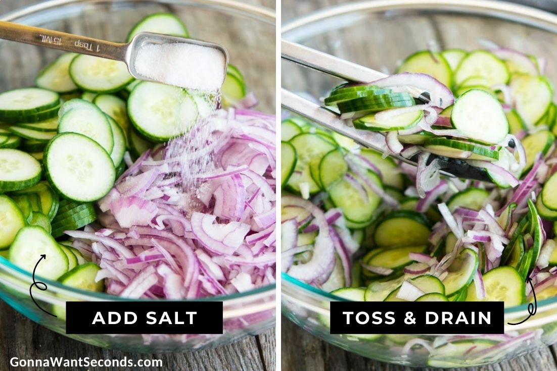 How to make creamy cucumber salad, cutting, tossing, draining cucumber and onion