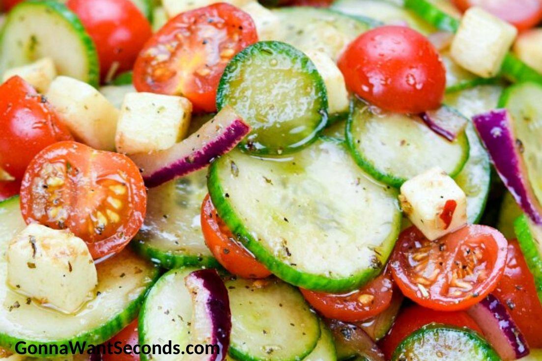 cucumber tomato salad, close up