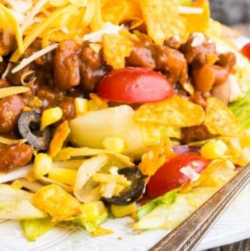 Dorito Taco Salad on a plate