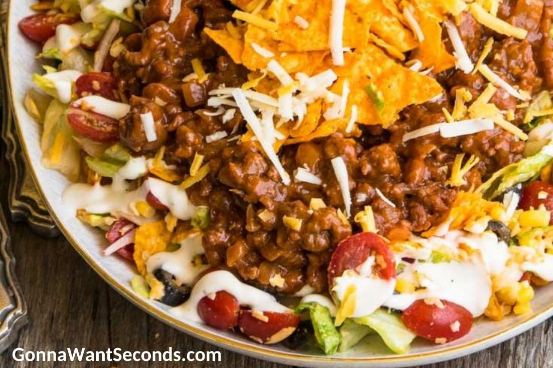 Dorito Taco Salad on a serving plate