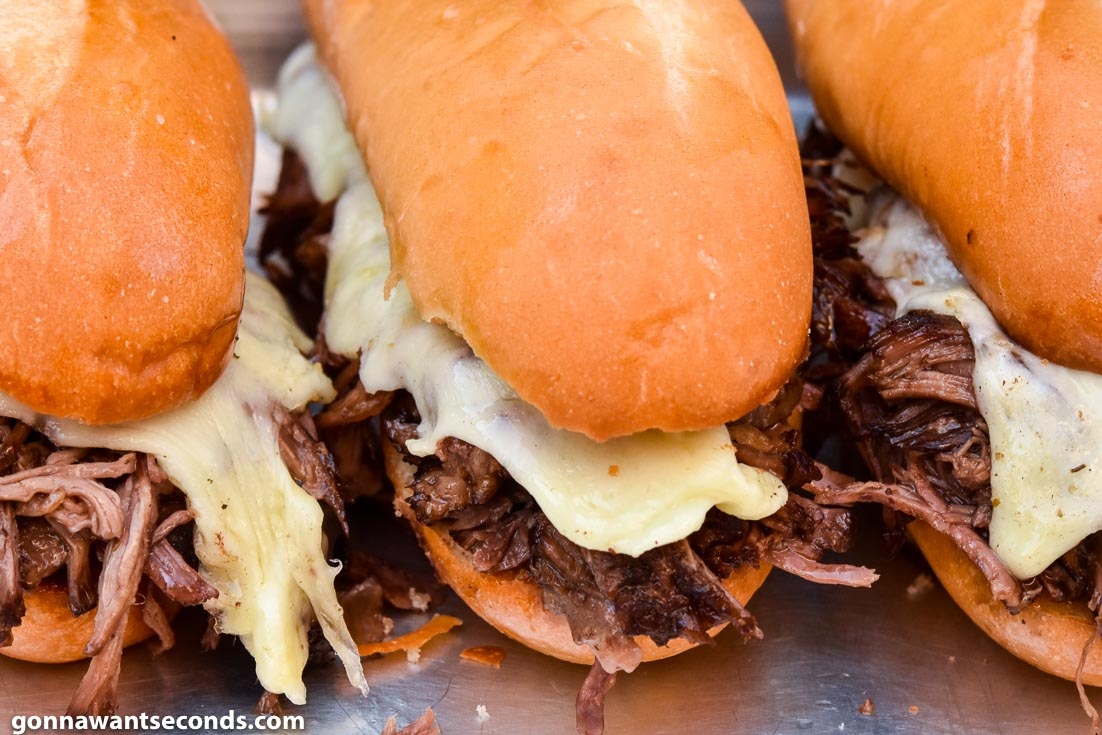 French Dip Sandwiches with melted cheese