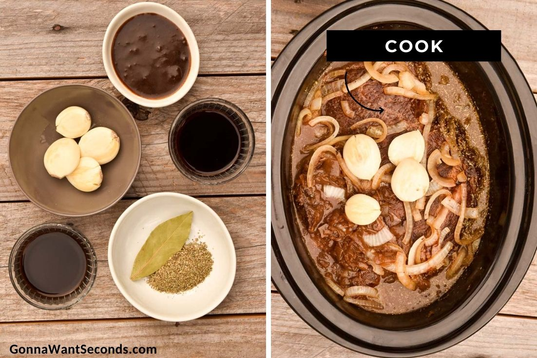 How to make French Dip Sandwiches, cooking in the crock pot