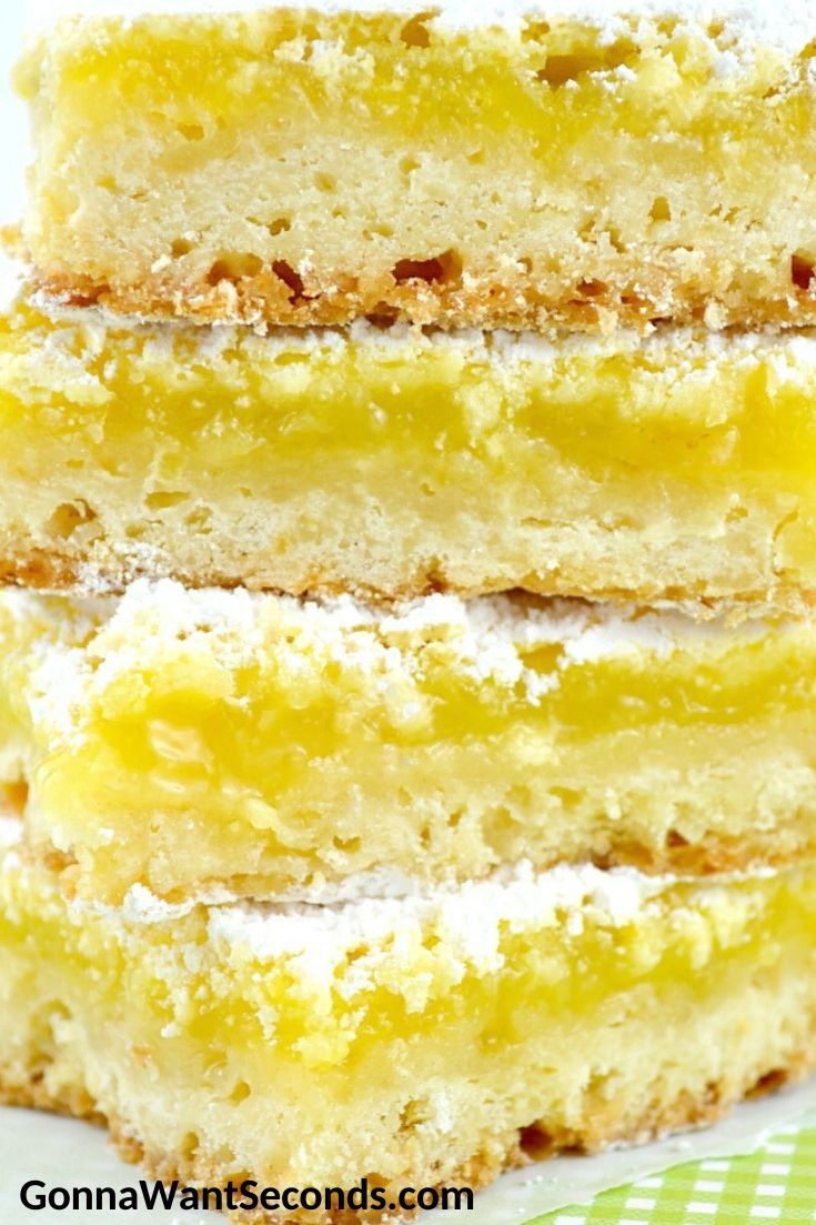 Lemon Bars stack on top of each other