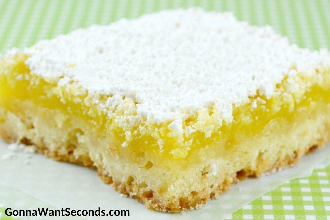 A slice of Lemon Bar on the table