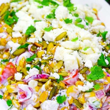 Mexican Corn Salad on a serving plate