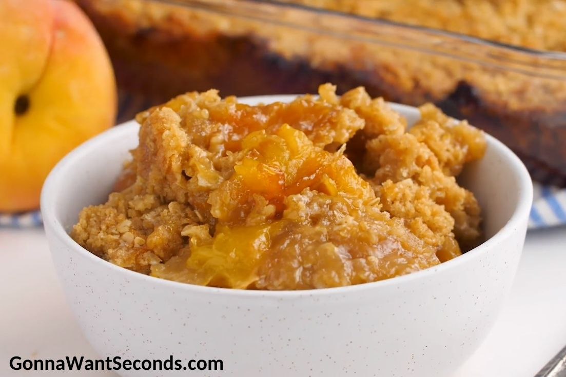 Peach Crisp in a bowl