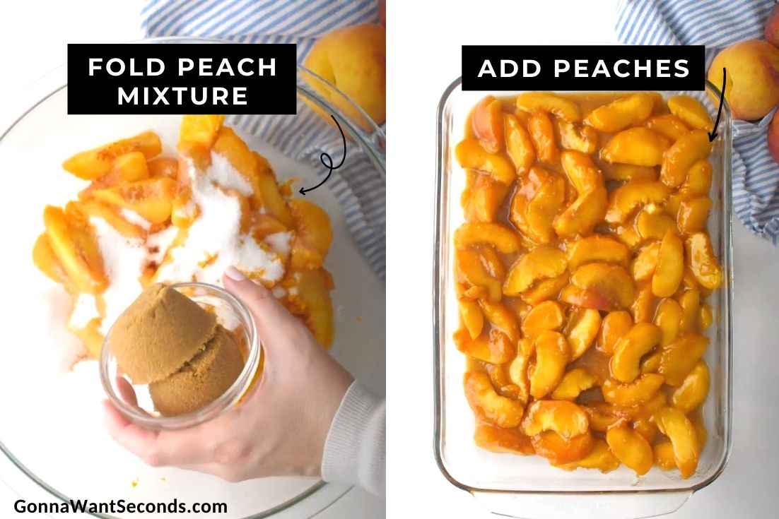How to make peach crisp, making the peach mixture
