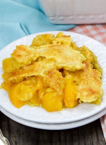 Peach Dump Cake on a plate